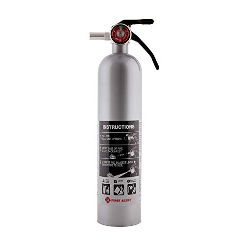 First Alert Fire Extinguisher | Designer Home Fire Extinguisher, Pewter, 2.5 lb, DHOME1 FE1A10GR