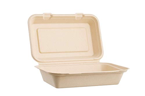 Harvest Pack 9 X 6' Disposable Single Compartment Clamshell - Eco Containers Togo Food Microwavable Hinged Container Boxes - Restaurant Carryout Lunch Meal Takeout Storage Food Service [50 Count]