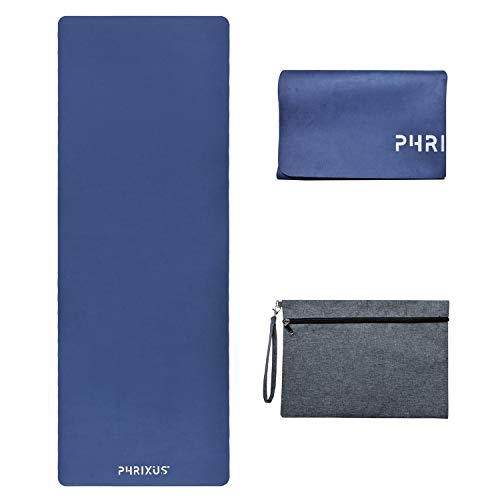 Phrixus Foldable Yoga Mat - 1/16 Inch Thin Hot Yoga Mat Larger Size, Sweat Absorbent Non Slip Exercise Fitness Mat Premium Natural Suede for Yoga, Pilates, Travel and Workout, Coming with Carrying Bag