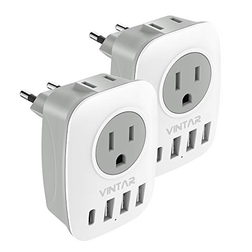[2-Pack] European Travel Plug Adapter, VINTAR International Power Adaptor with 1 USB C, 2 American Outlets and 3 USB Ports, 6 in 1 European Plug Adapter