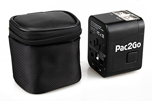 Pac2Go Universal Travel Adapter with Dual USB Charger - All-in-One Surge/Spike Protected Electrical Plug with Fast Charging USB Ports, International Power Socket works in 192 Countries - 2XUSB