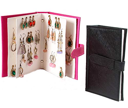 Lawei 2 Packs Earring Organizer Book - PU Leather Earring Holder Portable Travel Jewelry Boxes for Earring Storage
