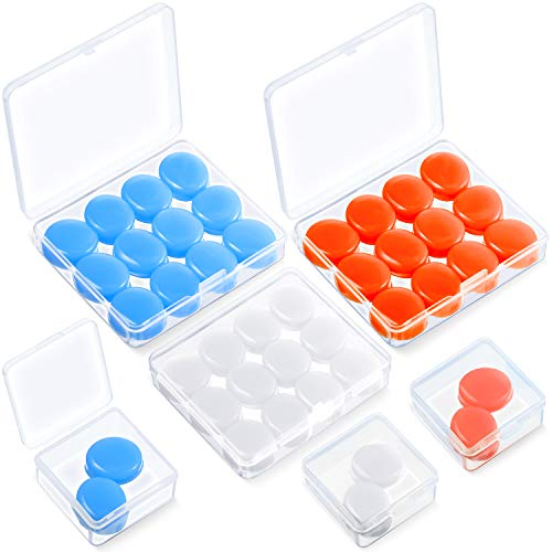 21 Pairs Ear Plugs for Sleeping Soft Reusable Moldable Silicone Earplugs Noise Cancelling Earplugs Sound Blocking Ear Plugs with Case for Swimming, Concert Airplane 32dB NRR (White, Blue, Orange)