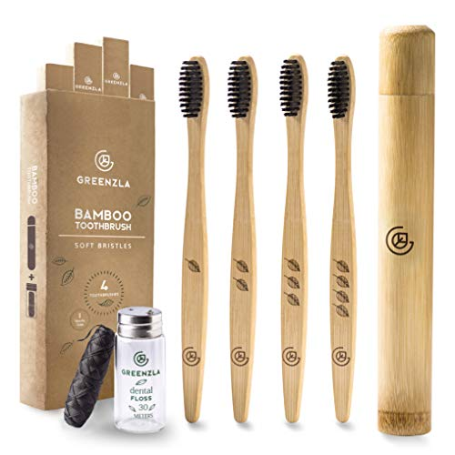 Greenzla Bamboo Toothbrush (4 Pack) with Travel Toothbrush Case & Charcoal Dental Floss | Natural Eco Friendly Toothbrushes for Adults | BPA Free , Soft Bristles & Biodegradable Wooden Toothbrush