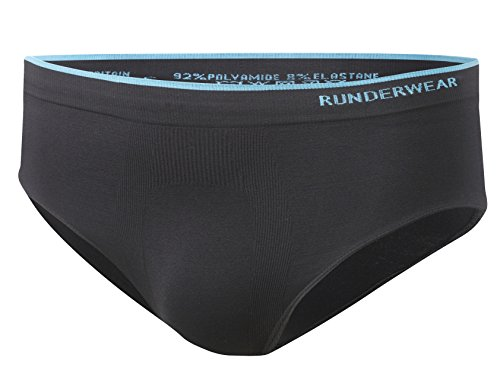 Runderwear Men's Running Briefs - Chafe-Free Running Underwear (Black, X-Large (36' - 38' Waist))