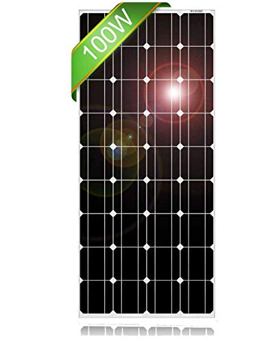 DOKIO 100 Watt 18 Volt Monocrystalline Solar Panel High Efficiency Module Durable RV Marine Boat Off Grid