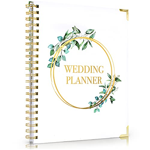 Beautiful Greenery Wedding Planner Book and Organizer - Enhance Excitement and Makes Your Countdown Planning Easy - Unique Engagement Gift for Newly Engaged Couples, Future Brides and Grooms