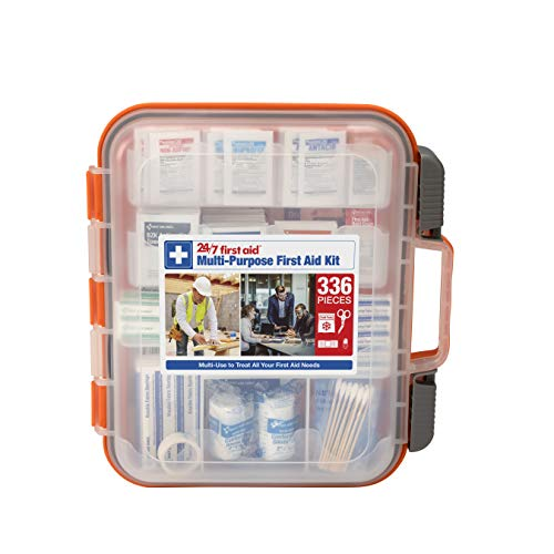 24/7 First Aid 336 Piece First Aid Kit, Colors Vary