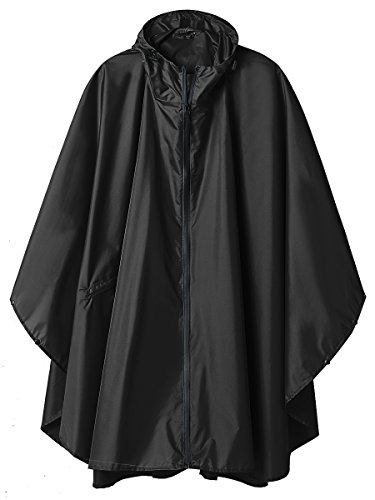 Hooded Rain Ponchos Outdoor Waterproof Raincoat Jacket for Adults with Zipper (Black)