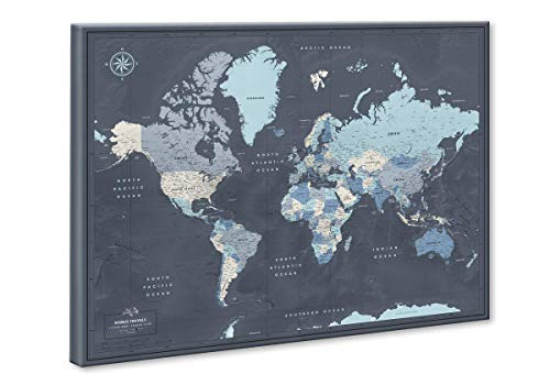 World Travel Map Push Pin on Canvas - Detailed World Map Pin Board - Travel Destinations Map World Map Wall Art by Pin Adventure map