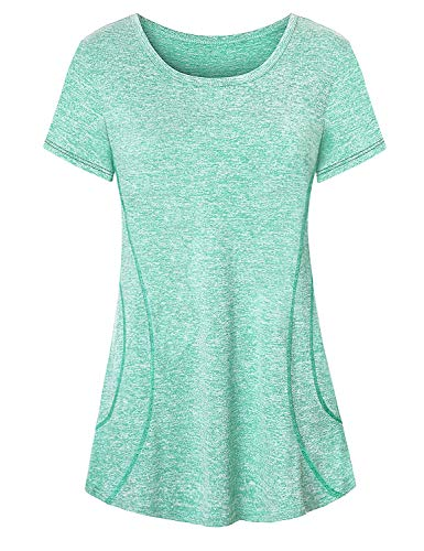 Workout Tops for Women,Cucuchy Plus Size Running Shirt Basic Short Sleeve O Neck T-Shirts Casual Gym Clothes Fitness Performance Roomy Modern Climbing Travel Tee Elastic Athletic Wear Light Green XXL