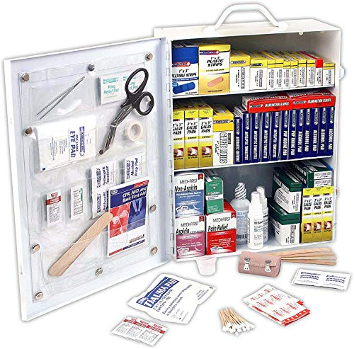 Rapid Care First Aid 80094 3 Shelf OSHA/ANSI First Aid Cabinet, 800 Pieces