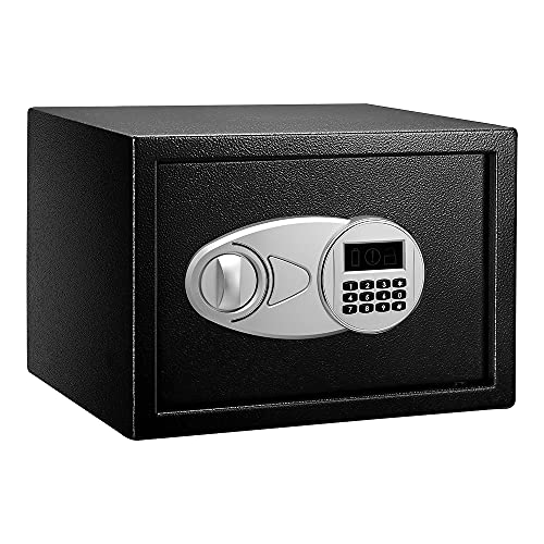 Amazon Basics Safe and Lock Box, Digital Electronic Security Keypad, Personal Safe and Black Safe Box for Home Office and Travel Business Use, 0.5 Cubic Feet,13.8 x 9.8 x 9.8 Inches