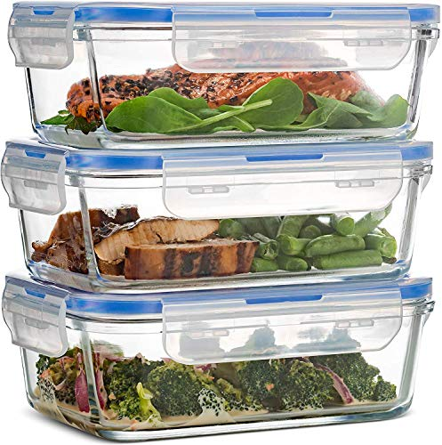 Superior Glass Meal-Prep Containers - 3-pack (28oz) BPA-free Airtight Food-Storage Containers with 100% Leakproof Locking Lids, Freezer to Oven Safe Great On-The-Go Portion-Control Lunch Containers