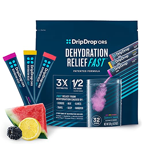 DripDrop ORS - Electrolyte Powder For Dehydration Relief Fast - For Workout, Sweating, Illness, & Travel Recovery - Watermelon, Berry, Lemon Variety Pack - 32 x 8oz Servings