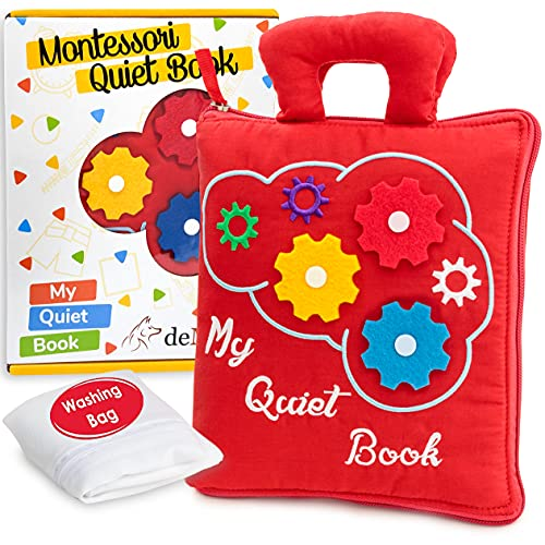 deMoca Quiet Book for Toddlers - Montessori Basic Skills Activity Toys – Preschool Learning Soft Travel Toy & Sensory Educational Busy Book for 3 Year Old Boys & Girls + Zipper Bag, Red