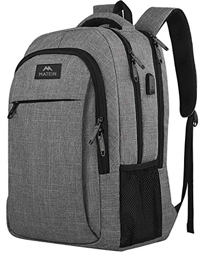 Matein Travel Laptop Backpack, Business Anti Theft Slim Durable Laptops Backpack with USB Charging Port, Water Resistant College School Computer Bag Gifts for Men & Women Fits 15.6 Inch Notebook, Grey