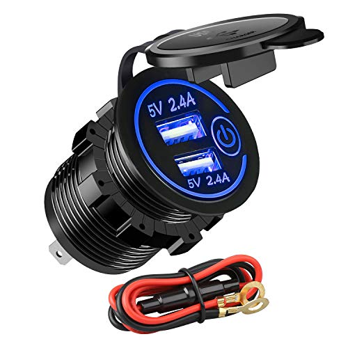 12V 4.8A USB Car Socket Linkstyle 12v RV USB Outlet Touch Control ON/OFF, Dual USB Charger Socket Waterproof Power Outlet with Blue LED Light for 12V Car RV Boat Marine Motorcycle Mobile