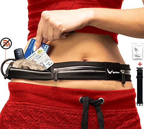 3 Pocket Runners Fanny Pack w/RFID Blocking - fits iPhone 7 8 8 Plus X XR 11 12 & Android Samsung. No Bounce, Waterproof, Fitness & Travel Belt! Sleekest, Most Durable in The World!