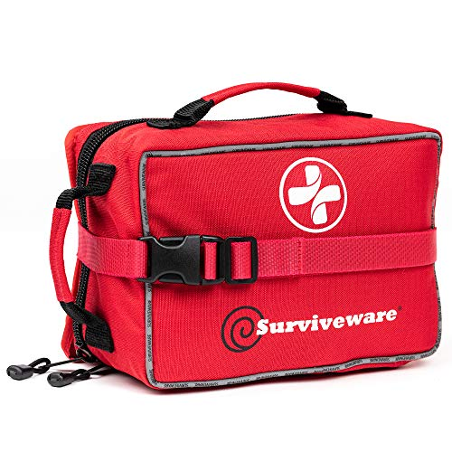 SURVIVEWARE Comprehensive Premium Large First Aid Kit and Bonus Mini Emergency Medical Kit for Trucks, Cars, Camping, Office and Sports and Outdoor Emergencies, 200 Pieces