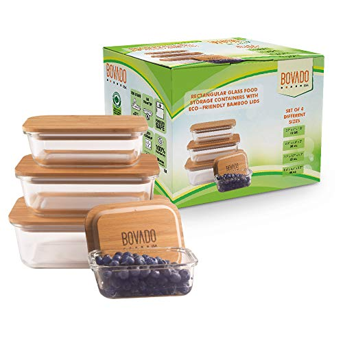 Bovado Set of 4 Rectangular Glass Food Storage Containers (12 oz + 20 oz + 35 oz +50 oz) with Eco-Friendly Bamboo Lids | 4 Bento Boxes for Meal Prep, Leftovers, Baking, Cooking & Lunch | BPA-Free