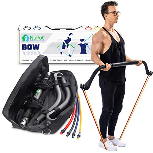NYPOT Bow Portable Resistance Bands - Home Gym Workout Kit - Travel Workout Equipment Set - 4 Resistance Bands - Full Body Training Kit - Weightlifting & Exercise Kit for Men & Women