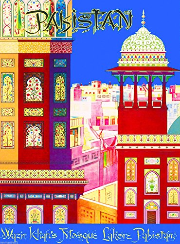 A SLICE IN TIME Pakistan - Wazir Khan's Mosque - Lahore, Pakistan South East Asia Islamabad Vintage Travel Advertisement Art Poster